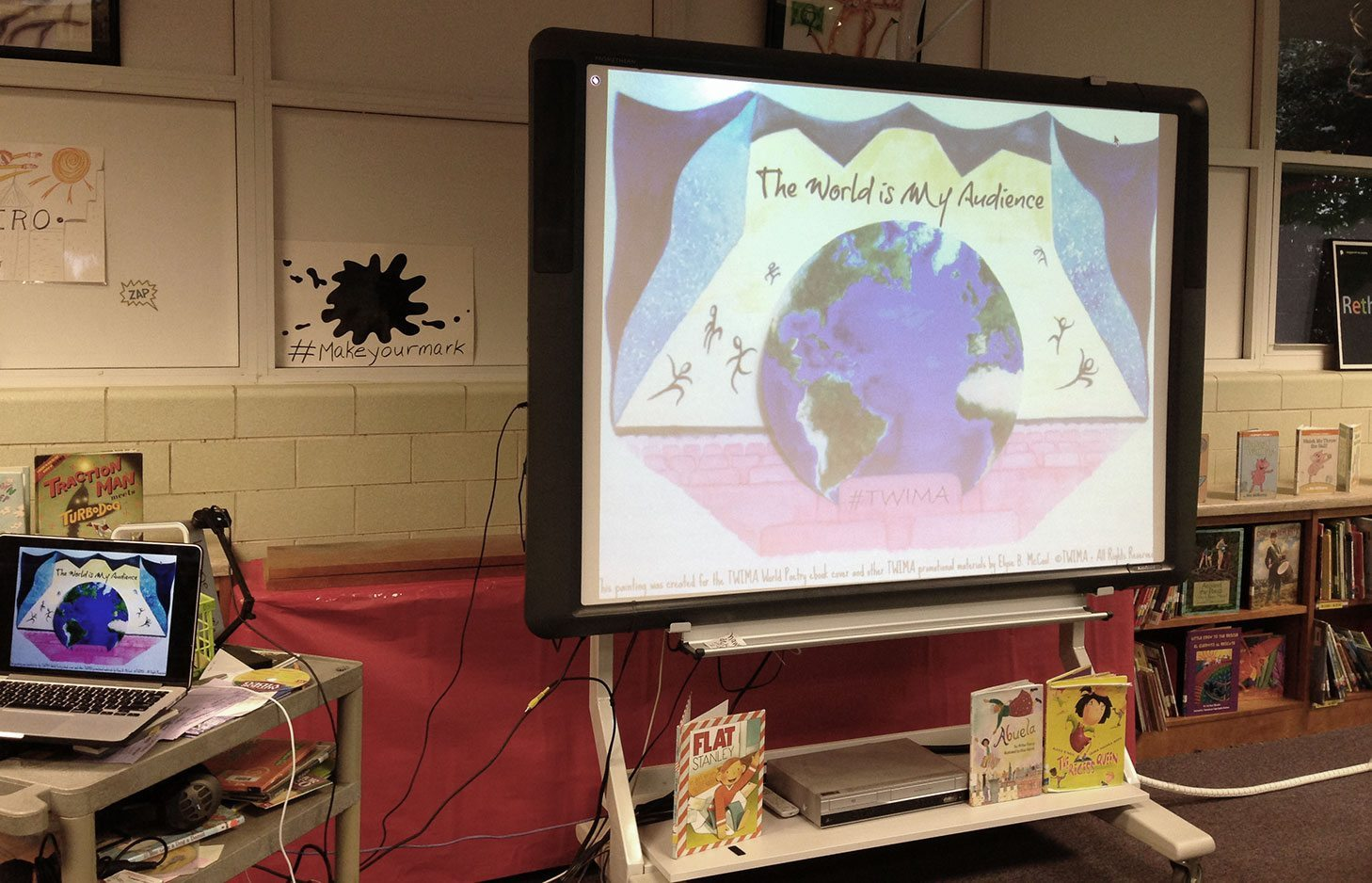 TWIMA book projected in the classroom